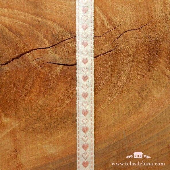 Cinta blanca corazones rosas 15mm