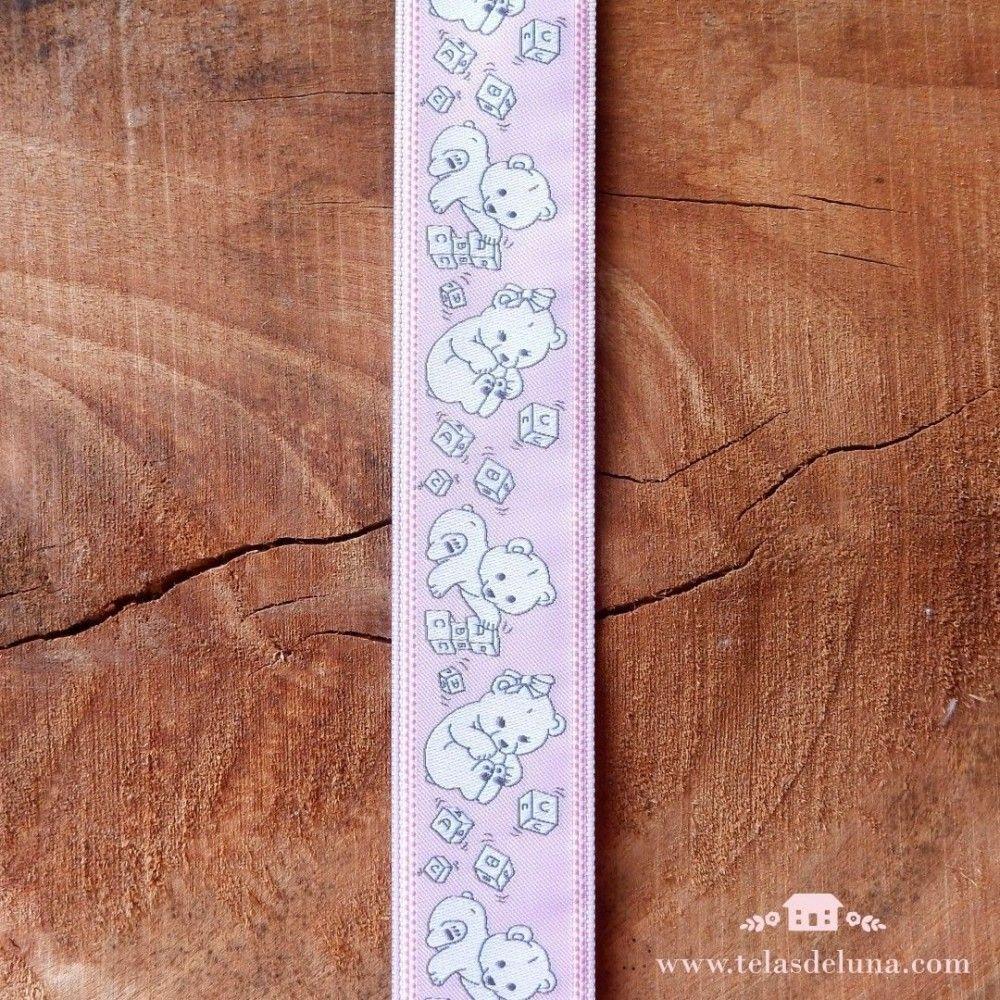Cinta rosa ositos juguetones 30mm
