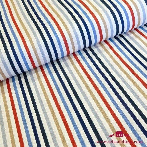 Tela a rayas rojas azules Moda Fabrics