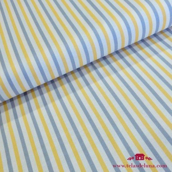 Tela a rayas azules amarillas Moda Fabrics