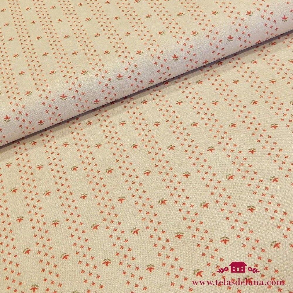 Tela blanca florecillas rojas Moda Fabrics