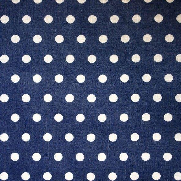 Mantel resinado lino topos azul