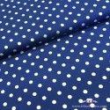 Tela azul cobalto topos blancos