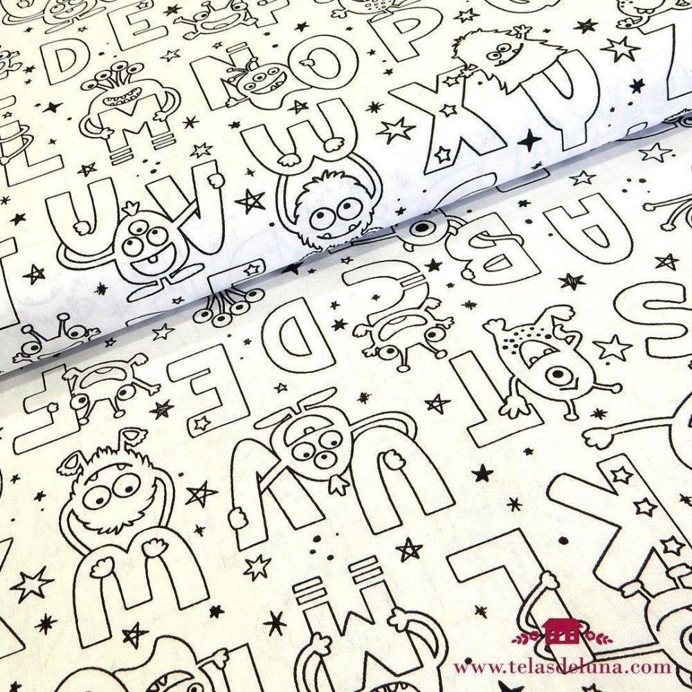Tela para pintar letras con monstruitos