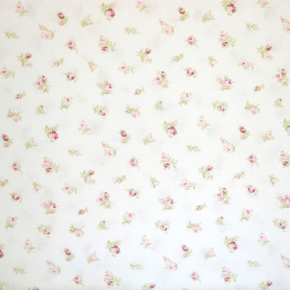 Tela blanca flores rosas