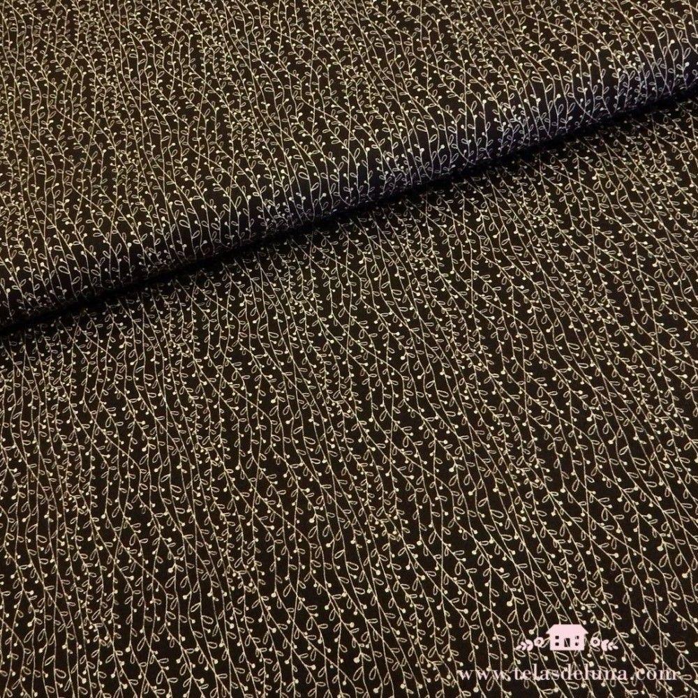Tela marrón enredaderas blancas
