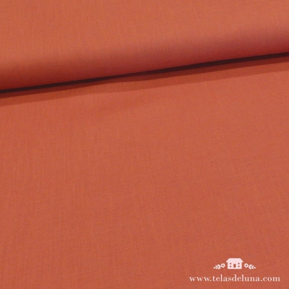 Tela coral lino lisa