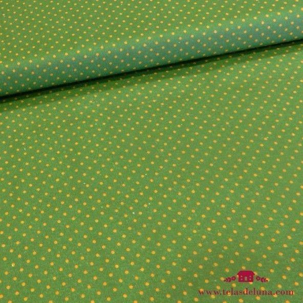 Tela verde olivo con topos