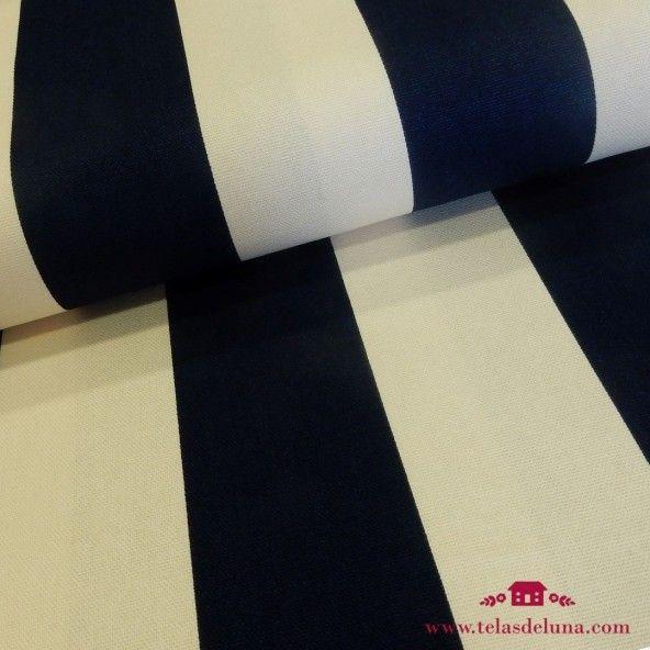 Tela japonesa loneta rayas azules