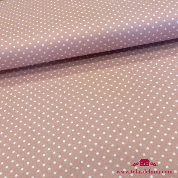 Tela japonesa rosa topos blancos