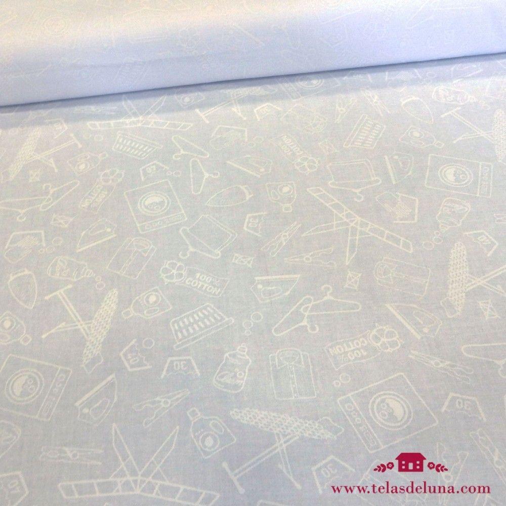 Tela blanco roto dibujos lavanderia