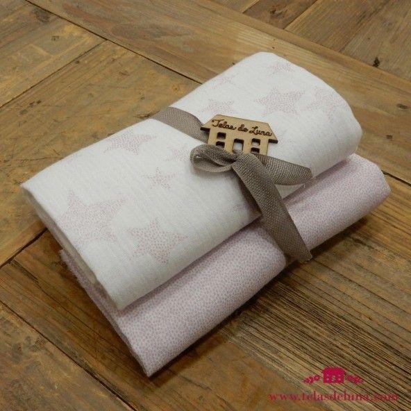 Muselinas algodon organico puntos rosas