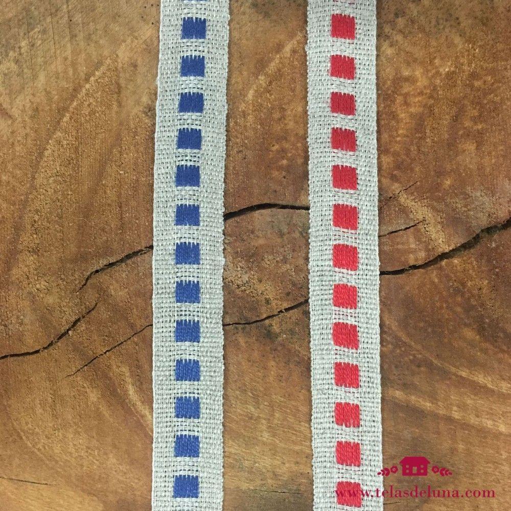 Cinta 14 mm gris azul rojo