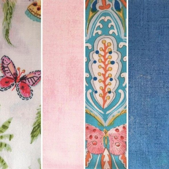Fat Quarters mariposas rosa azul