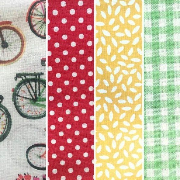 Fat Quarters bicicletas con telas estampadas