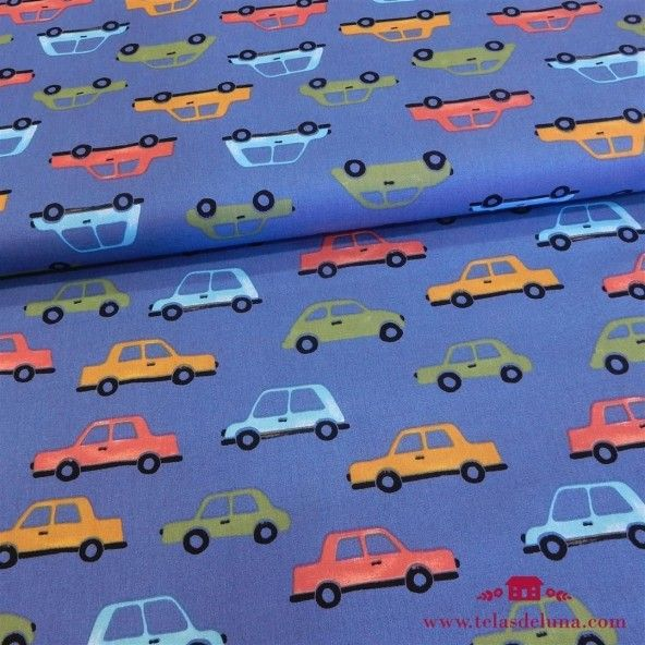 Tela azul coches infantiles