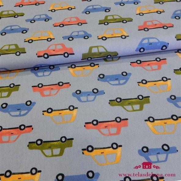 Tela gris coches infantiles