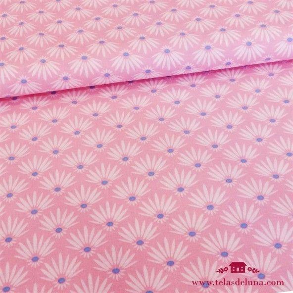 Tela rosa hojas de palmera