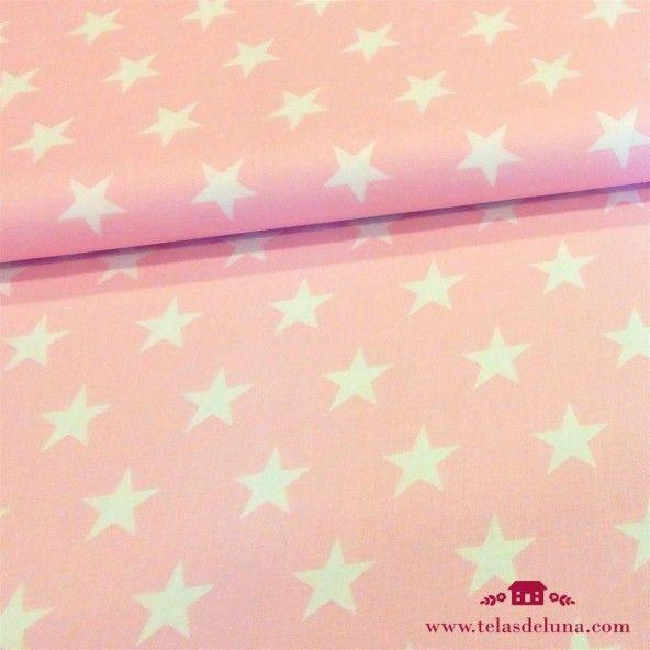 Tela rosada estrellas blancas