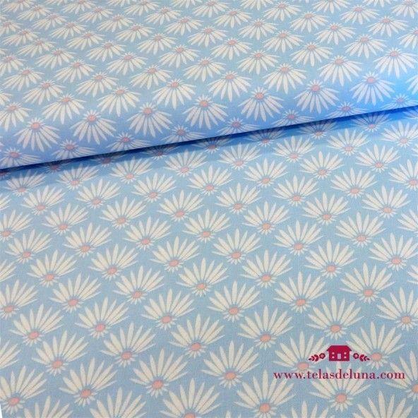 Tela hojas de palmera azul celeste