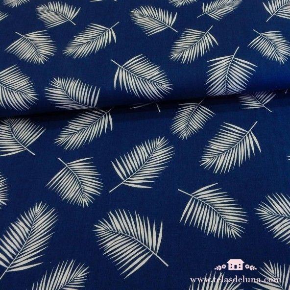 Tela azul oscuro hojas helechos