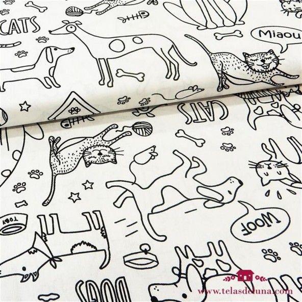 Tela para pintar dibujos perros gatos