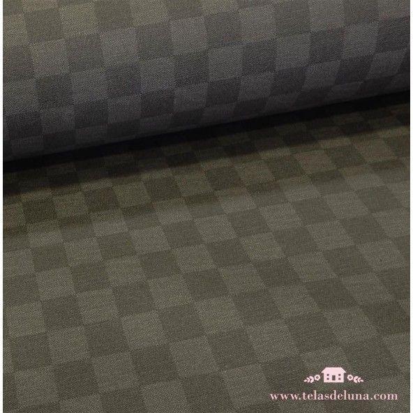 Mantel antimanchas resinado cuadros gris pardo