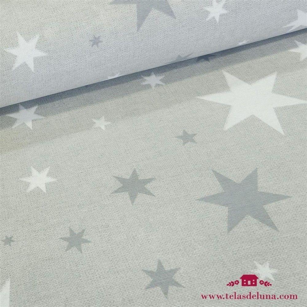 Mantel antimanchas gris con estrellas