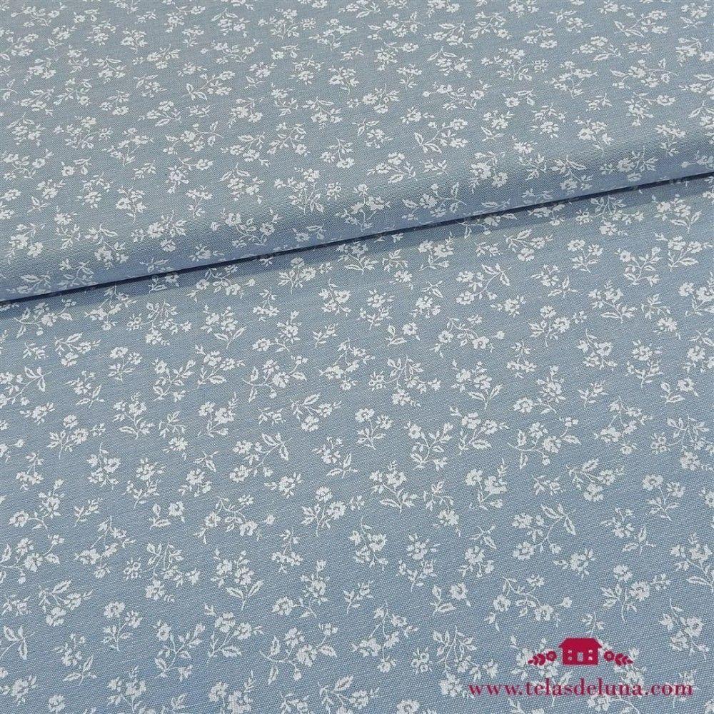Tela azul claro vaquera flores