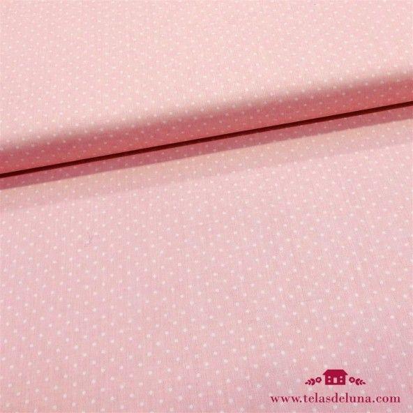 Tela rosa bebe topos blancos