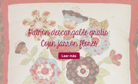descarga gratis patrón patchwork cojín aplicación flores