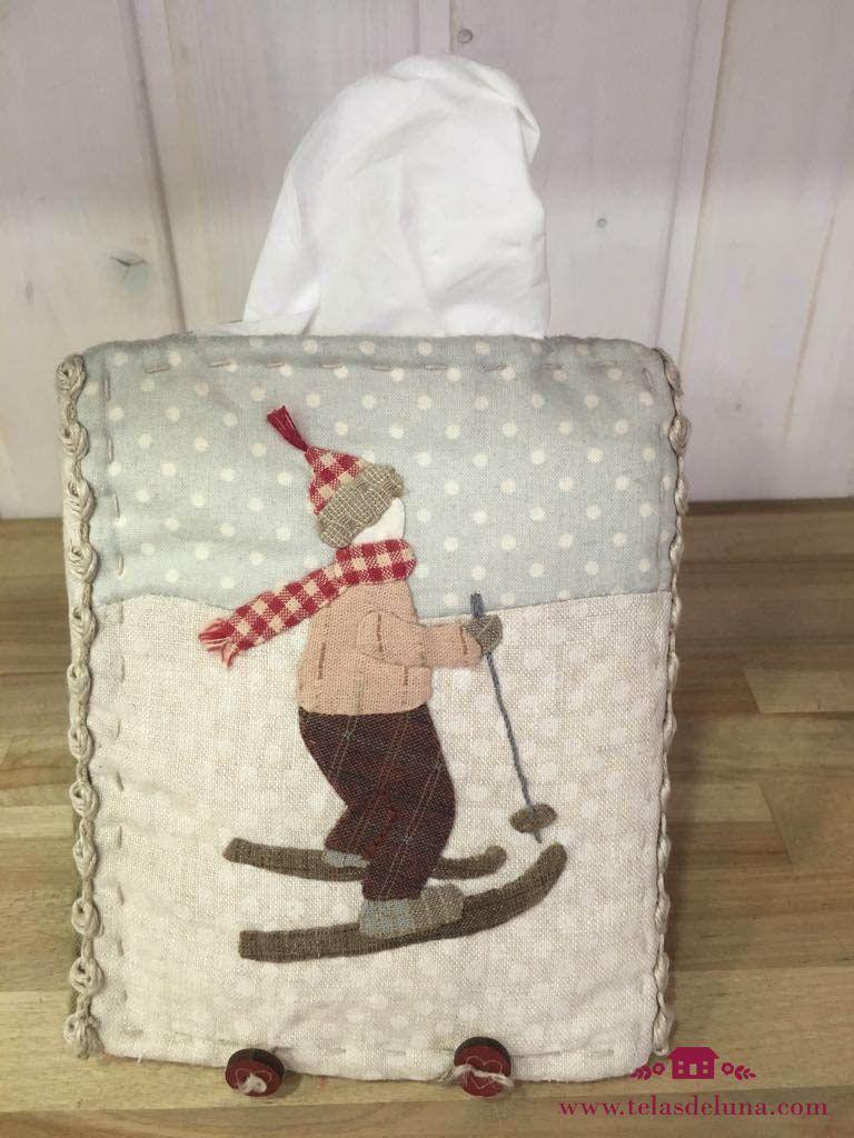funda de pañuelos patchwork esquiador