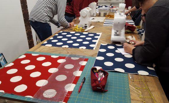 taller maquina de coser tote bag