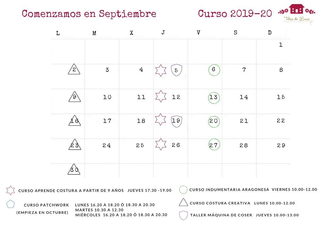 telas de luna calendario septiembre 2019 talleres